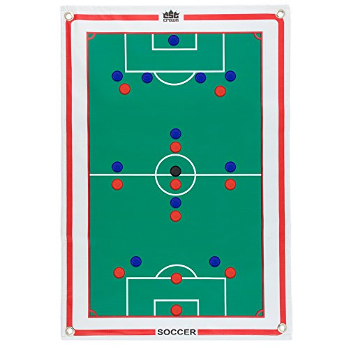 Crown Sporting Goods Magnetic Soccer Coaches Strategy & Tactic Board - 23.75' x 16.75' Premium, Double Sided Roll-Up Play Calling Clipboard, Full & Half Field View Sides, 24 Magnets