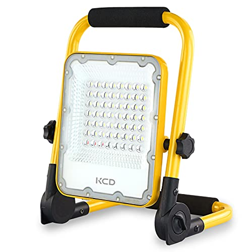 KCD Rechargeable LED Work Light with Stand, Folding Portable Flood Lights Outdoor 30W 3000lm IP65 Waterproof Working Lights for Emergency Outdoor Camping Car Repairing and Job Site Lighting