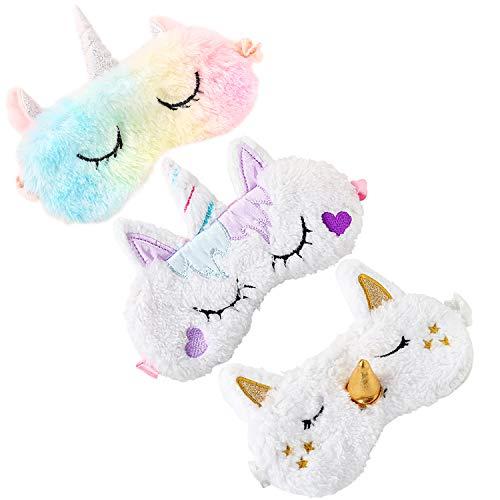 Bascolor 4 Piezas Unicornio Antifaz para Dormir Ni/ños M/áscara para Dormir Conejo Animal M/áscara de Ojos Venda Viajar Siesta Ni/ño Ni/ña Mujer