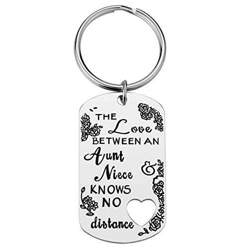 Aunt Niece Keychain - Aunt Gift from Niece, The Love between an Aunt and Niece Knows No Distance Gifts for Aunt