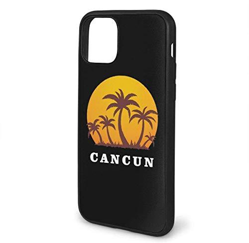 N/A iPhone 11 hoesje Cancun Mexico Zonsondergang en palmbomen strand siliconen gel rubberen beschermhoes voor iPhone 11