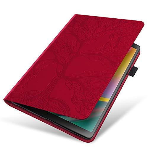 NVFED Funda de piel sintética con función atril para Samsung Galaxy Tab A7 10.4 2020 SM-T500 T500 T505 Life Tree con bolsillo para tarjetas (color: rojo, tamaño: S6 Lite P610)