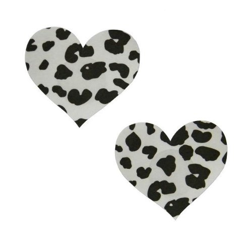 Plak nippel sticker patroon hart koe beha pad borst intieme sieraden zwart grootte Ø 80mm