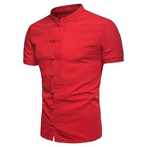 NOBRAND Camisa de algodón y cáñamo con botones en color sólido, manga corta casual para hombre Gules XL