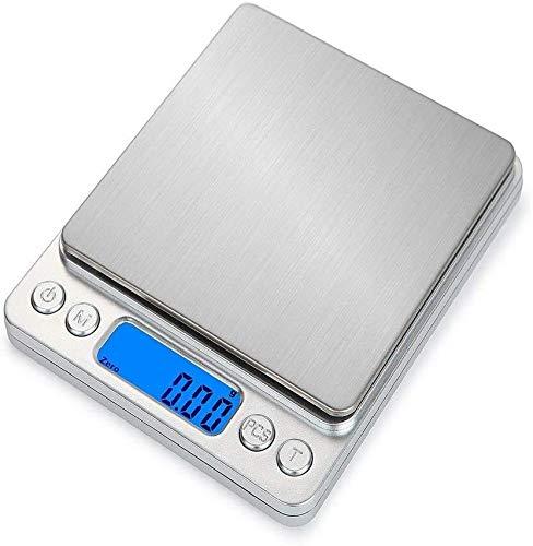 GXT Cocina portátil Escala Digital Acero Inoxidable LCD Electronic LCD Escalas de Alimentos Peso de la joyería 1000G x 0.1g Pequeña