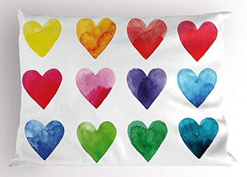 Funda de almohada para cojín, funda de almohada de San Valentín, arcoíris, formas de corazón de colores en acuarelas, hecha a mano con ilustración romántica, funda de almohada decorativa estándar de tamaño King tamaño impreso, 14 x 20 pulgadas, color rojo pastel