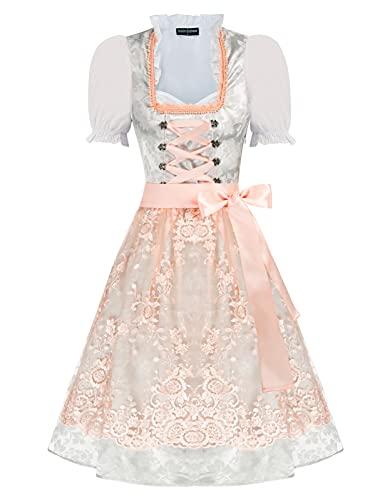 Women Oktoberfest Costumes 3pcs Set German Dirndl Dress Costume Color-1 Medium
