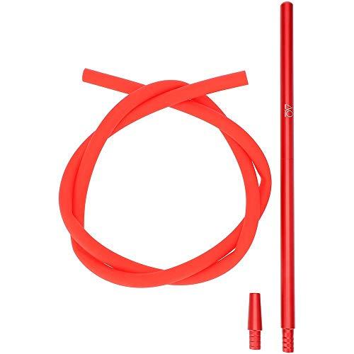 AO® Shisha Schlauch Set Alu Mundstück 40cm Komplettset   Silikonschlauch matt   inklusive Schlauchadapter (Rot)