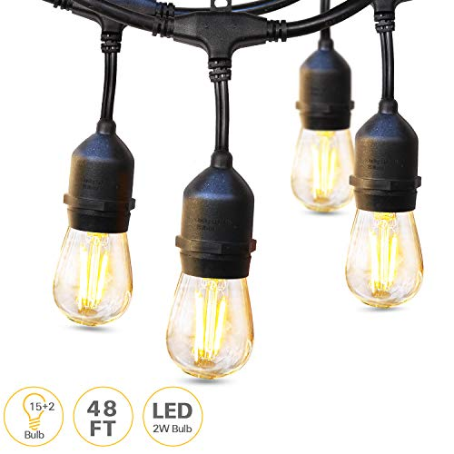 LED Outdoor String Lights, 48FT with 15 Hanging Sockets, 17 Dimmable 2W Shatterproof Edison Bulbs Party Lights, Commercial Grade Connectable String Lights for Patio Porch Pergola Garden 2700K