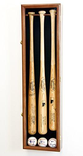 3 Baseball Bat Display Case Cabinet Holder Wall Rack Custom Options 98% UV -...