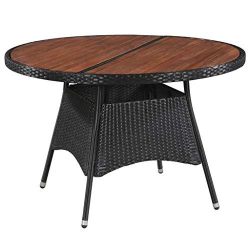 Festnight Table Jardin Ronde Table Jardin Resine Tressee Table de Manger d'Extérieur Marron et Noir 115 x 74 cm