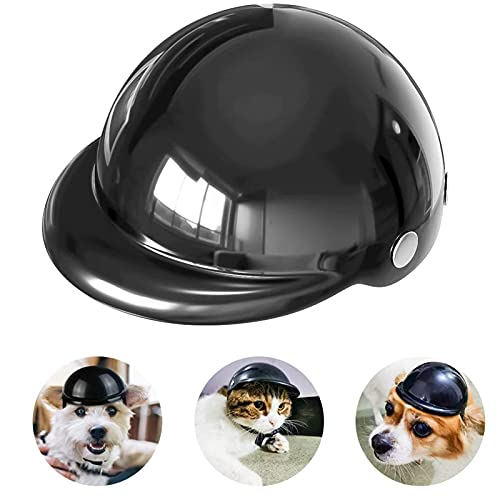 Casco De Perro para Motocicleta,Casco para Mascotas,Universal El Plastico Ajustable Casco De Moto para Perro para Perros Medianos,Perros Pequeños,Gatos (Negro)
