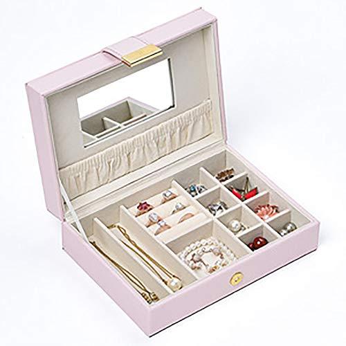 Joyeria Oagnizer Display Joyeria Caja de almacenamiento con espejo de maquillaje HD y cerradura de imán para collar, anillo, pulsera, pendientes (rosa)