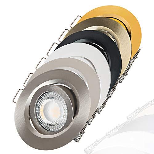 LED Einbaustrahler schwenkbar flach 3000K warmweiß 230V dimmbar Deckenstrahler Einbauleuchte Einbauspot, Farbe:Chrom, Einheit:6 Stück