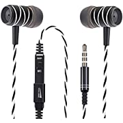Noise Cancelling Headphones with Volume Control Yosou Wired In Ear Earphones with Microphone and Bass RE-B02A(Black-White)