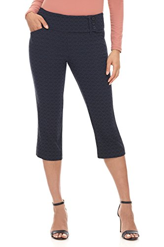 Rekucci Women's Ease into Comfort Wide Waist Capri with Back Lacing Detail (6,Navy Floral)