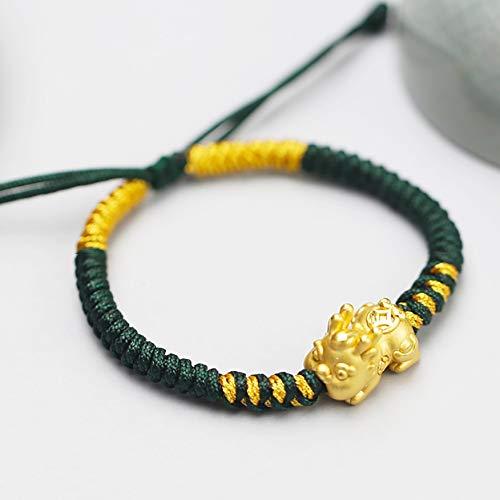 Feng Shui Pixiu / Pi Yao Bracelet 999 Pure Silver Baby Pixiu extra engrosado 18k-oro chapado en oro pulsera amuleto flores para la prosperidad curación talismán atrae dinero buena suerte chi éxito