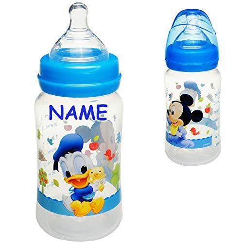 alles-meine.de GmbH Babyflasche - Trinkflasche - Disney - Mickey Mouse - inkl. Name - 300 ml / 240 ml - BPA frei - ab Geburt - mitwachsend - 3 Positionen - für jedes Alter - 0 Mo..