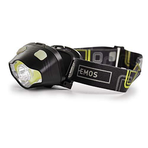 EMOS wasserdichte Stirnlampe mit Rotlicht, Grünlicht, 7 Lichtmodi, IP43 schwenkbare Kopflampe mit 160 St. Leuchtdauer, 220lm Helligkeit, 100m Leuchtweite, COB LED Outdoor-Kopfleuchte