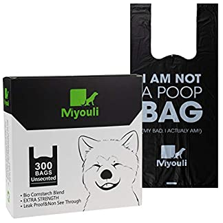 Miyouli 300 Counts Extra Thick Black Biodegradable Pet Poop Waste Bags With Handles for Dogs,Unscented 14
