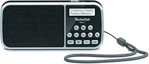 TechniSat VIOLA 3 – portables DAB Radio (DAB+, UKW, LCD Display, Kopfhöreranschluss, USB, Aux-In, LED Taschenlampe, klein, tragbar, 1 Watt RMS Lautsprecher) schwarz