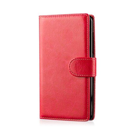 32nd® Funda Flip Carcasa de Piel Tipo Billetera para Samsung Galaxy Core Prime (SM-G360) con Tapa y Cierre Magnético y Tarjetero - Rojo