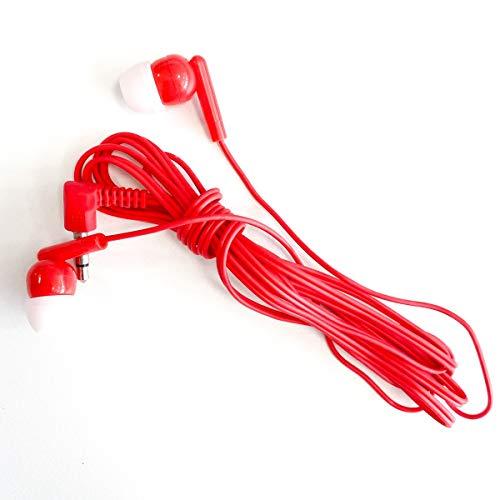 M&E - Pack Auriculares Desechables 100 uds - Auriculares con conexión Jack 3.5mm - Presentación en Bolsas Individuales para máxima higiene - Color Rojo