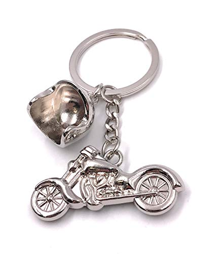 Onlineworld2013 Schlüsselanhänger Motorrad mit Helm Motorradhelm Kraftrad Krat Metall Anhänger Charm