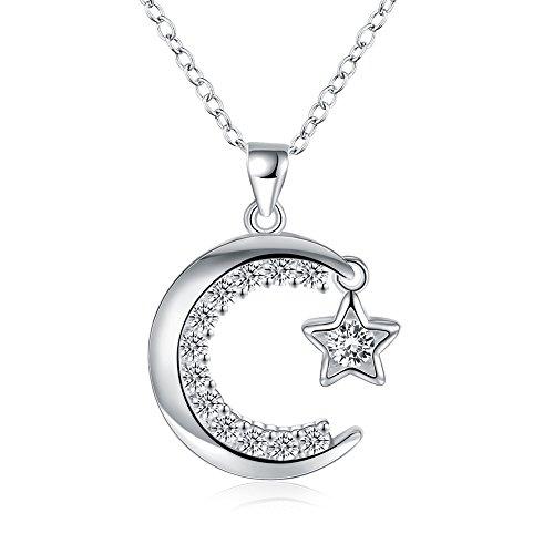 Qiandi - Collana con ciondolo a forma di luna e stella, in argento S925, con strass e zirconia cubica rotonda