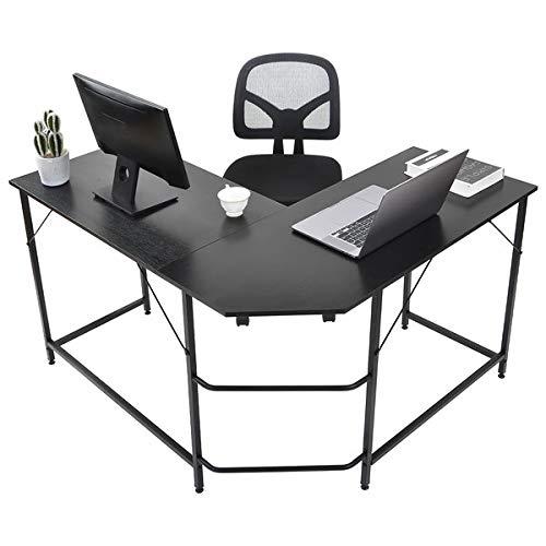 Escritorio de esquina para ordenador, mesa de oficina, mesa de trabajo, mesa de oficina, mesa de trabajo, ahorra espacio, marco de metal