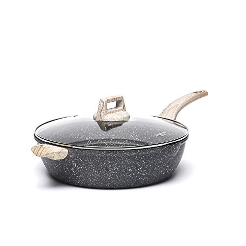 Carote 6.5-Quart Nonstick Saute Pan with Helper Handle, Deep Skillet with Cover, Non-Stick Jumbo Cooker Granite Stone Coating from Switzerland,12.5 inch