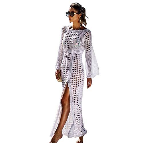 Tacobear Gestrickte Strandkleid Damen Sexy Bikini Cover Up Lang Strandponcho Sommerkleid Sommer Bademode Strand Pareo für Damen (Weiß)