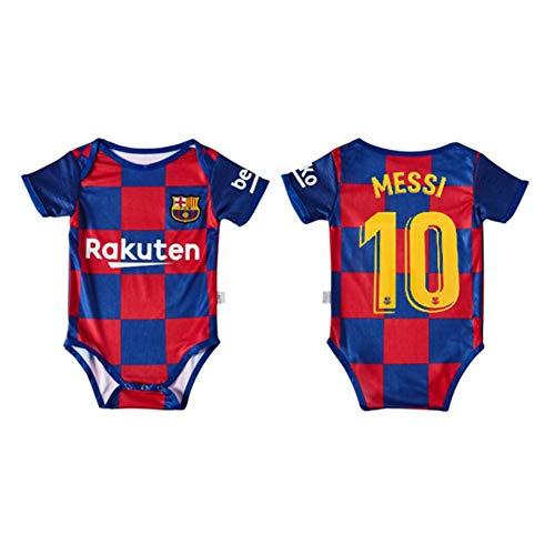 PAOFU-Chico Chica Body Onesies Camiseta de Fútbol para Barcelona Lionel Messi # 10 de Body de Bebé Fanáticos,Azul,6~12 Months