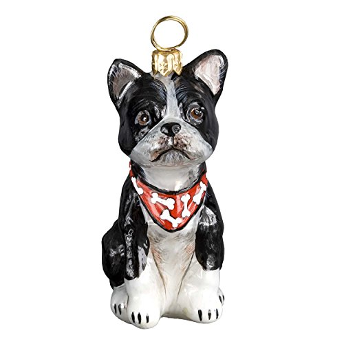 Joy To The World Boston Terrier with Bandana Dog Polish Blown Glass Christmas Ornament Decoration