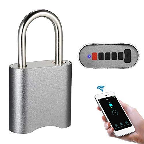 Shengy USB BT hangslot, anti-diefstal waterdicht cijferslot, 4-cijferige wachtwoord/app Keyless Unlock, voor Android iOS, voor huisdeur, koffer, rugzak, fitnessruimte, fiets