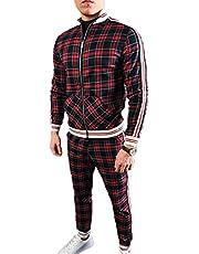 U/N Diagonale geruite bedrukte basketbal trainingspakken heren sportkleding set zip up sweatshirt pak opstaan kraag geribbelde manchet en zoom
