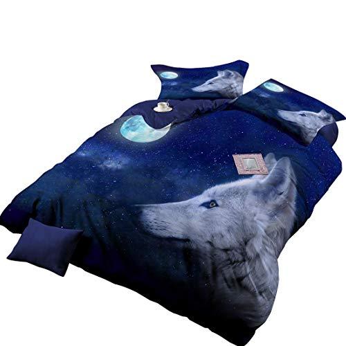 Cnspin Bettwsche drucken Tiermuster 3D Bettbezge Wolf Weiß grau Bettbezug mit Kissenbezug Einzel-Doppelbett-Set,C,200cmx200cm