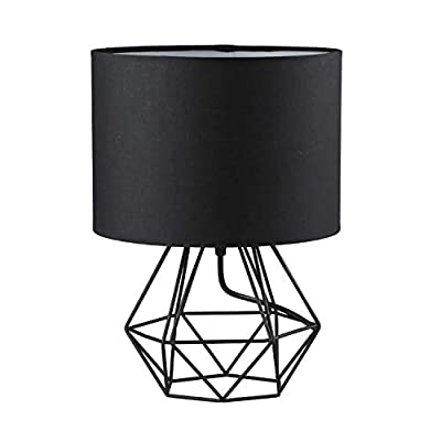 Modern Vintage Style Table Lamps - FRIDEKO Ecopower Minimalist Bedside Lamp Night Light Hollowed Out Cage Base with Fabric Shade Desk Lighting Fixture for Bedroom Living Kids Room, White - Gold