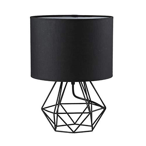 Frideko Moderne Tischlampe, Diamant-Metalldraht, Käfigsockel mit Stoff-Lampenschirm für Zuhause, Büro, Café, Restaurant (Weiß-Roségold), metall, Schwarz , 1 Stück, E27