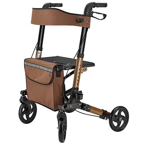 Juskys Aluminium Rollator Vital klappbar & leicht | 6-fach höhenverstellbar | Gehhilfe mit Sitz, Bremse und Tasche | 130 kg | braun