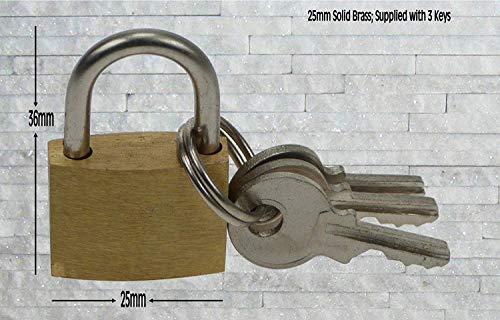 2 X 25 mm Solid Brass Padlock With Key 2 Keys - Ideal For Luggage, Locker, Travel Bag etc.