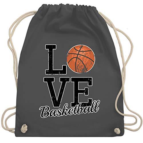 Shirtracer Basketball - Love Basketball - Unisize - Dunkelgrau - basketball tasche kinder - WM110 - Turnbeutel und Stoffbeutel aus Baumwolle