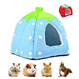 Small Animal Pet Winter House, Multifunctional Strawberry Warm Nest Bed, Non-slip Portable Sleeping Bag with Removable Mat,Home Cave for Hamster Guinea Pig Chinchilla Squirrel Hedgehog Red/Blue