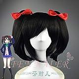 Japanese Anime LOVE LIVE Nico Yazawa cosplay wig Nico Yazawa bangs styled hair wig with 2 red hair pins One Size Nicl