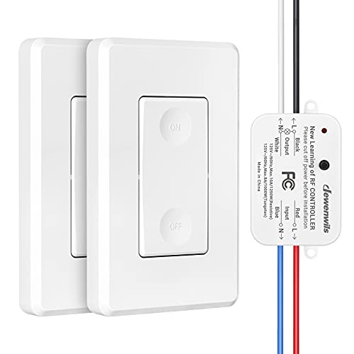DEWENWILS Wireless Light Switch and Receiver Kit, Remote Control Wall Switch Lighting Fixture for Ceiling Lights, Fans, Lamps, No Wiring, 100ft RF Range, (2 Switches and 1 Receiver)