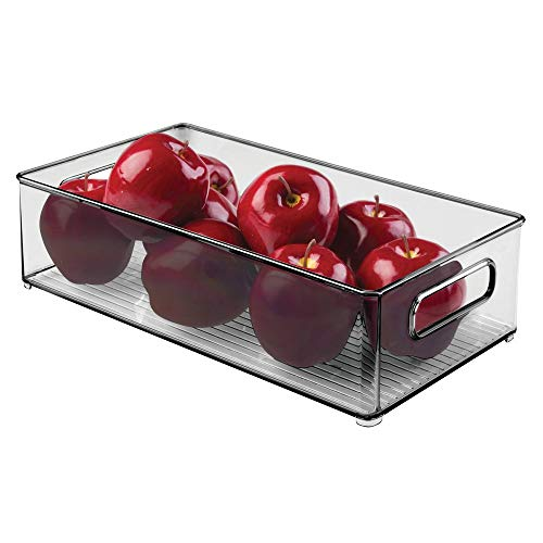 mDesign Grote stapelbare keukenopbergbox met trekhandvat voor koelkasten, vriezers, kasten, pantries - BPA-vrij, voedselveilig - Diepe rechthoekige lademand - Rookgrijs Single Rook