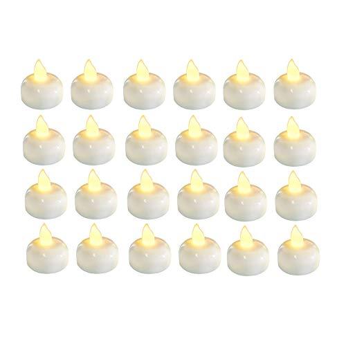 Konesky LED-Kerzenlichter, 24-teiliges Teelicht Realistische und helle batteriebetriebene flackernde flammenlose Wasserleitung Schwimmende Kerzenlicht Gelbe LED-Kerzenlampe für Bad Schwimmbad