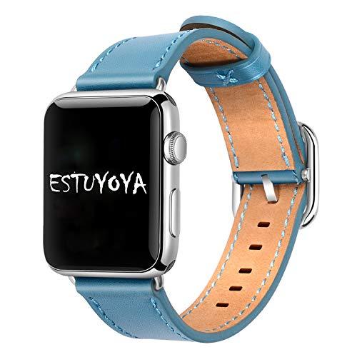 Estuyoya - Pulsera de Piel compatible con Apple Watch Diseño de Cuero Fino y Elegante Exclusivo Cierre Hebilla Acero Inoxidable para 38mm 40mm Series 6 / 5 / 4 / 3 / 2 / 1 / SE - Azul