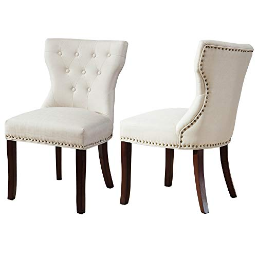 DAGONHIL Accent Chairs Set of 2 for Dining Room with Brown Solid Wooden Legs,Nailed Trim (Beige)