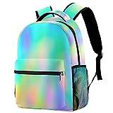 Mochila escolar personalizable con colores arcoíris para niños y niñas